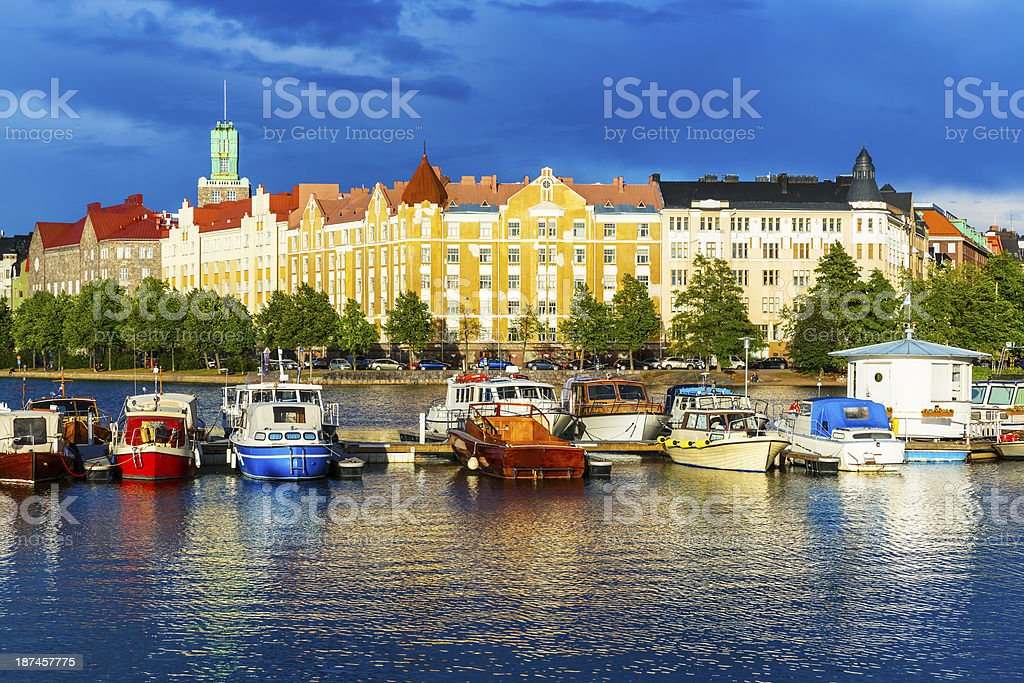 Beautiful water view of Helsinki of Finland stock photo