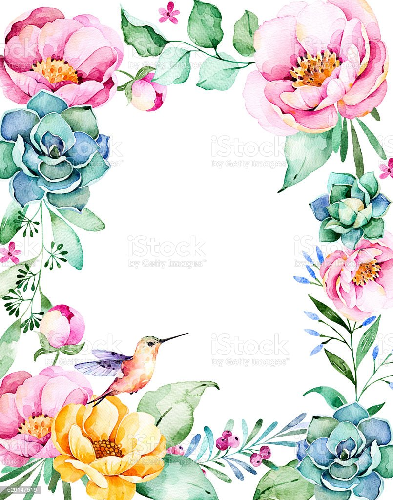 Beautiful watercolor frame border with roses,flower,foliage,succulent plant stock photo