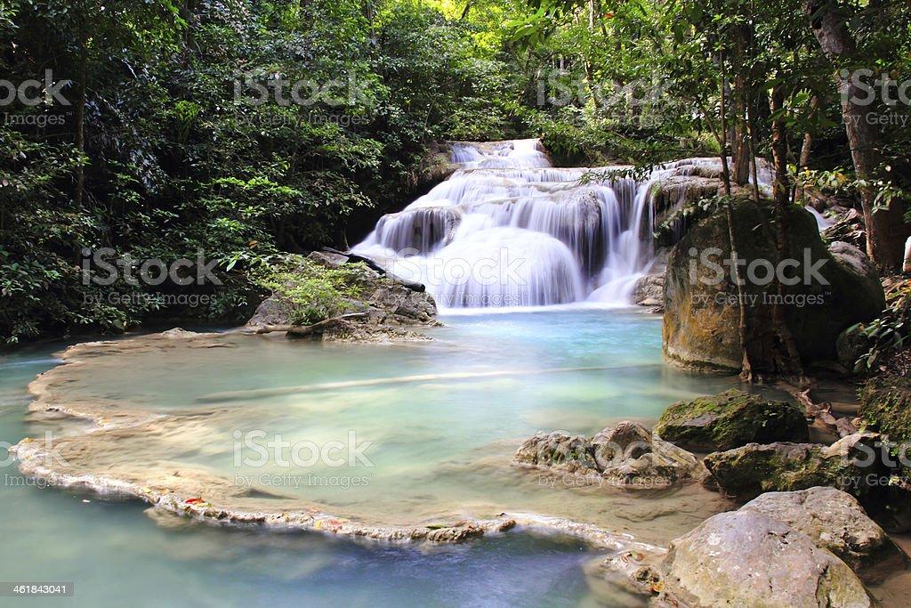 Beautiful Waterfall at Erawan National Park royalty-free stock photo
