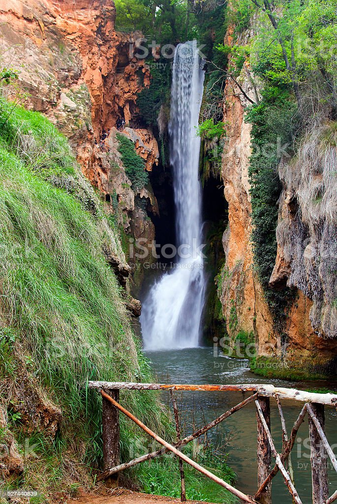 Beautiful waterfall called 'Horsetail' located inside the stone stock photo