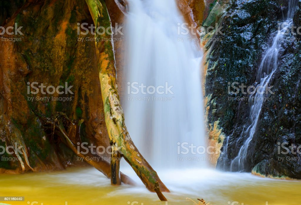 Beautiful waterfall clos up stock photo
