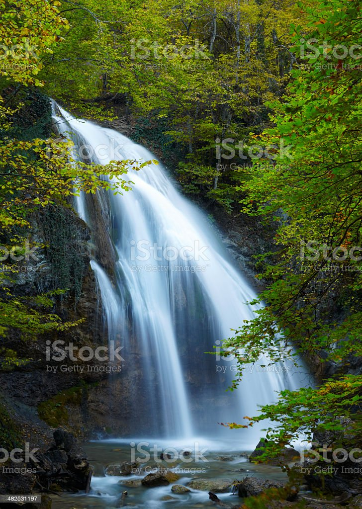Beautiful Waterfall. Crimea, Ukraine royalty-free stock photo