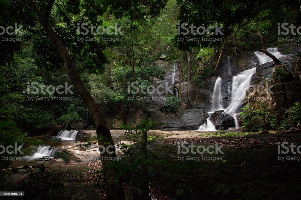 Beautiful waterfall deep inside Kerala Forest. stock photo