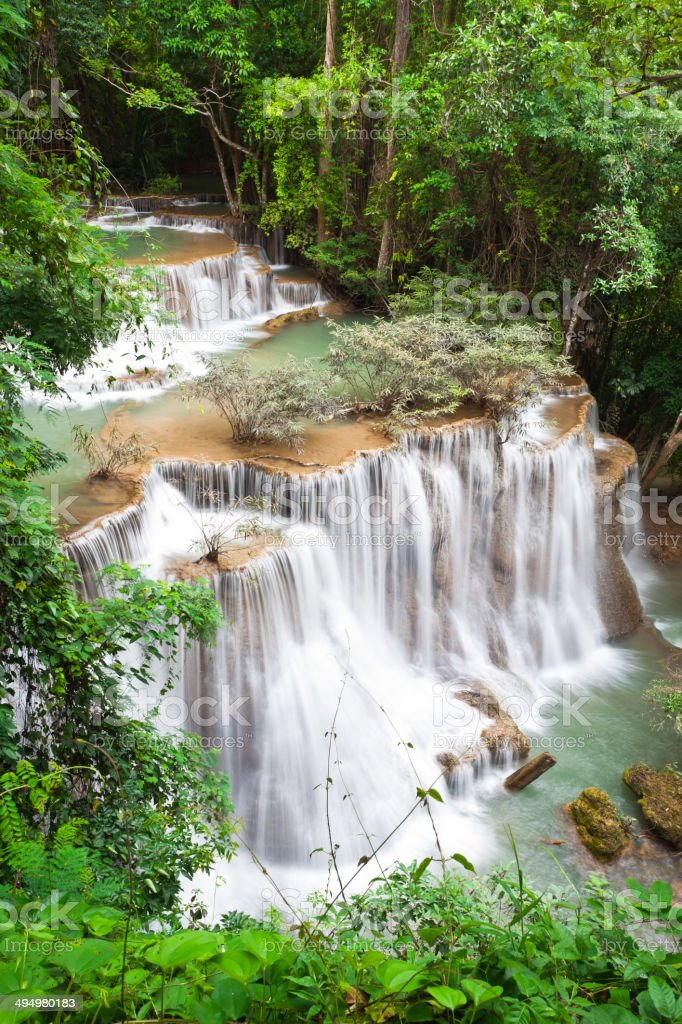 Beautiful waterfall, Huay mae Ka Min waterfall stock photo