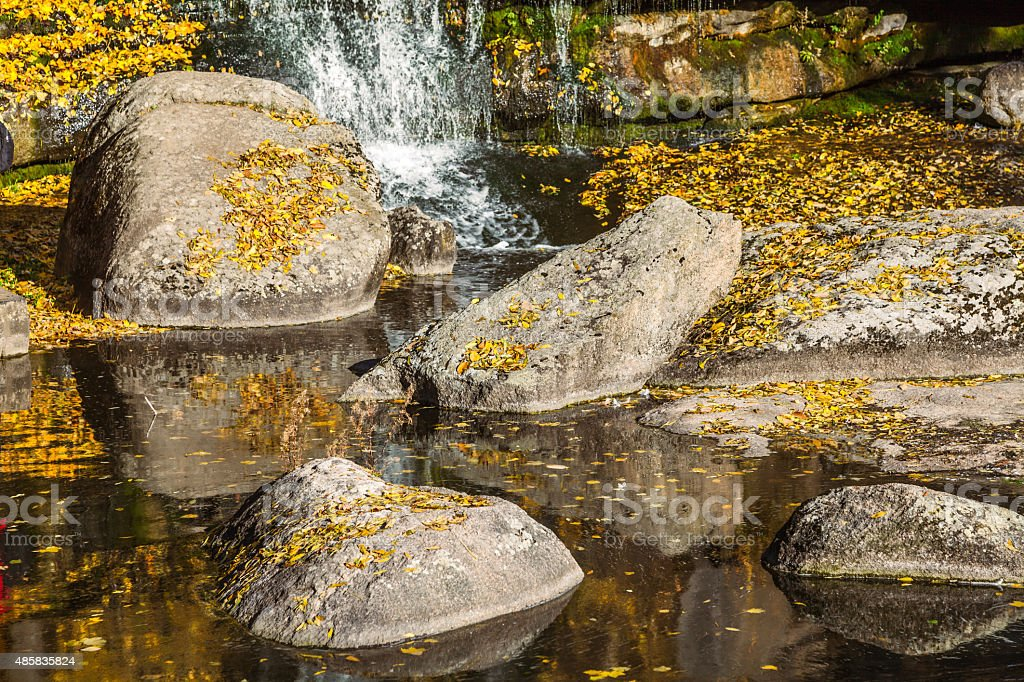 Beautiful waterfall in autumn forest stock photo