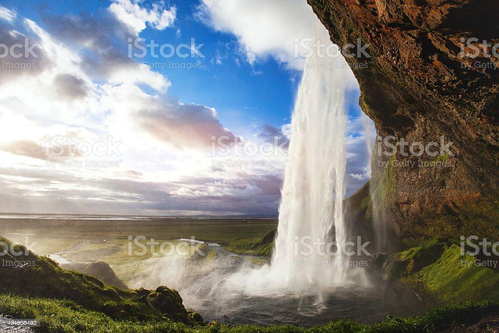 beautiful waterfall in Iceland stock photo