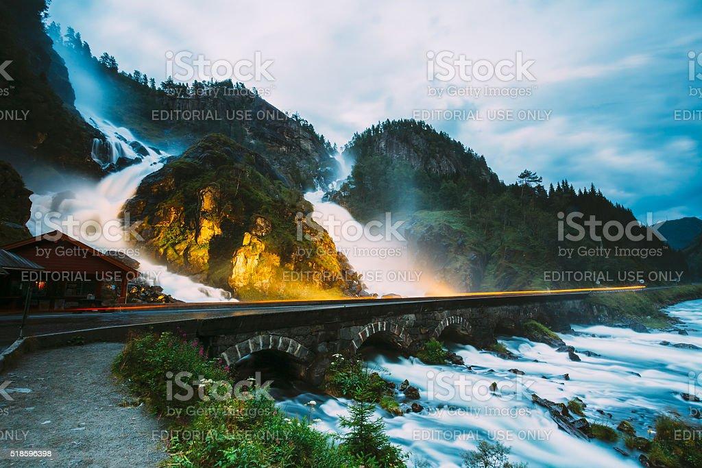 Beautiful waterfall in Norway. Amazing Norwegian nature stock photo