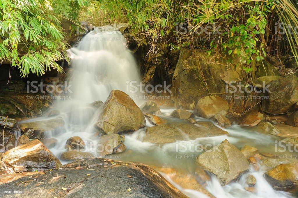 Beautiful waterfall in rainforest , Kanchanaburi Province , Thai stock photo