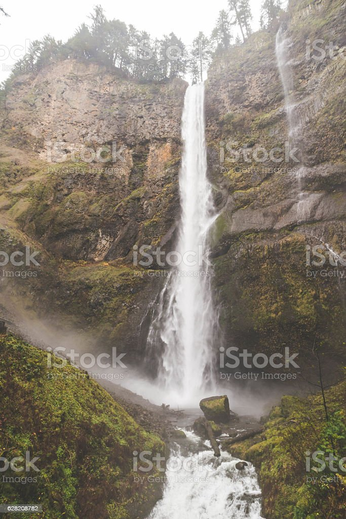 Beautiful waterfall in the pacific northwest stock photo