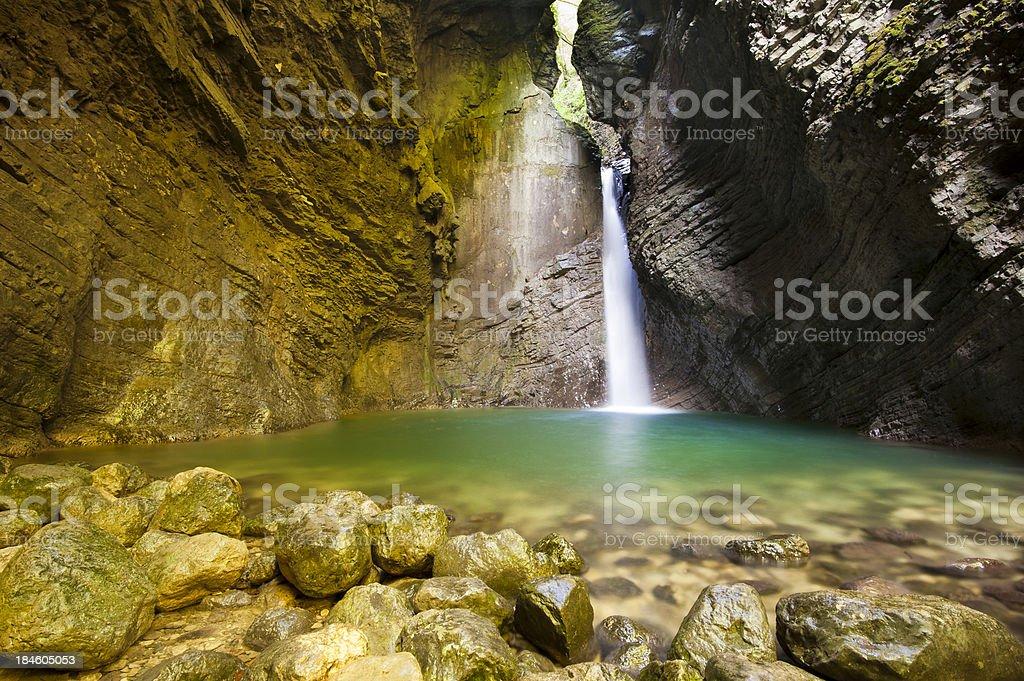 Beautiful waterfall Kozjak stock photo