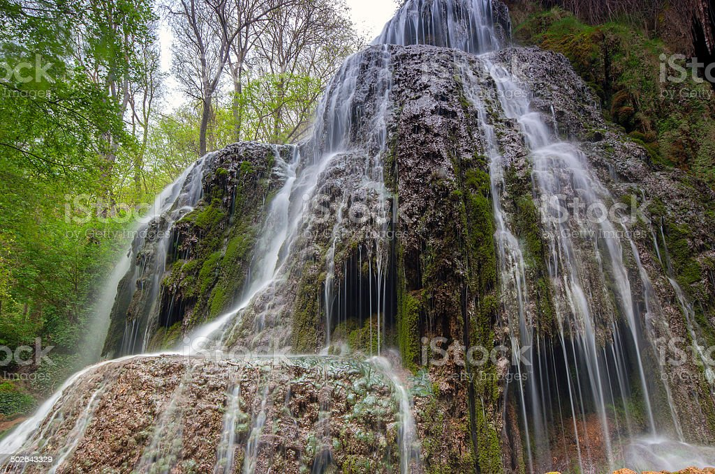 Beautiful waterfall l inside the monastery piedra.Zaragoza.Spain stock photo