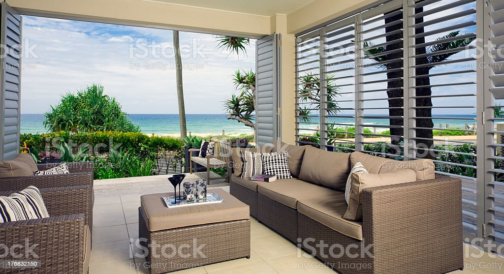 beautiful waterfront suite with ocean views stock photo