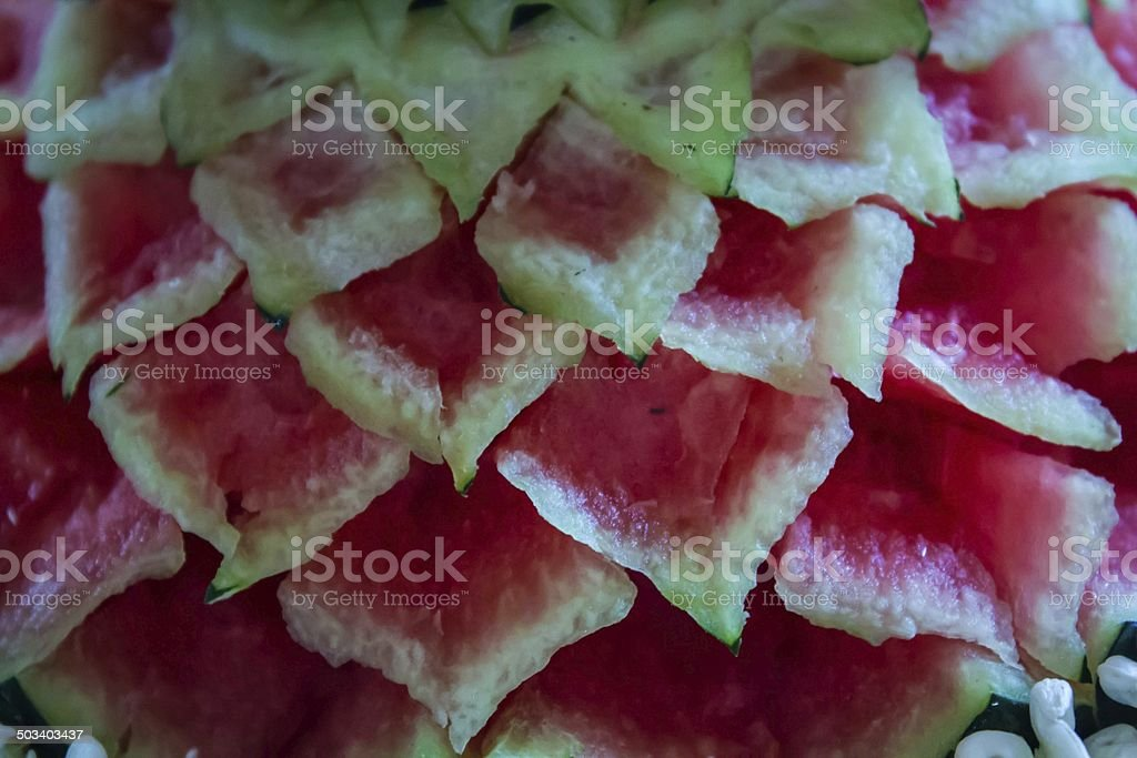 Beautiful Watermelon Thai Fruit carve stock photo