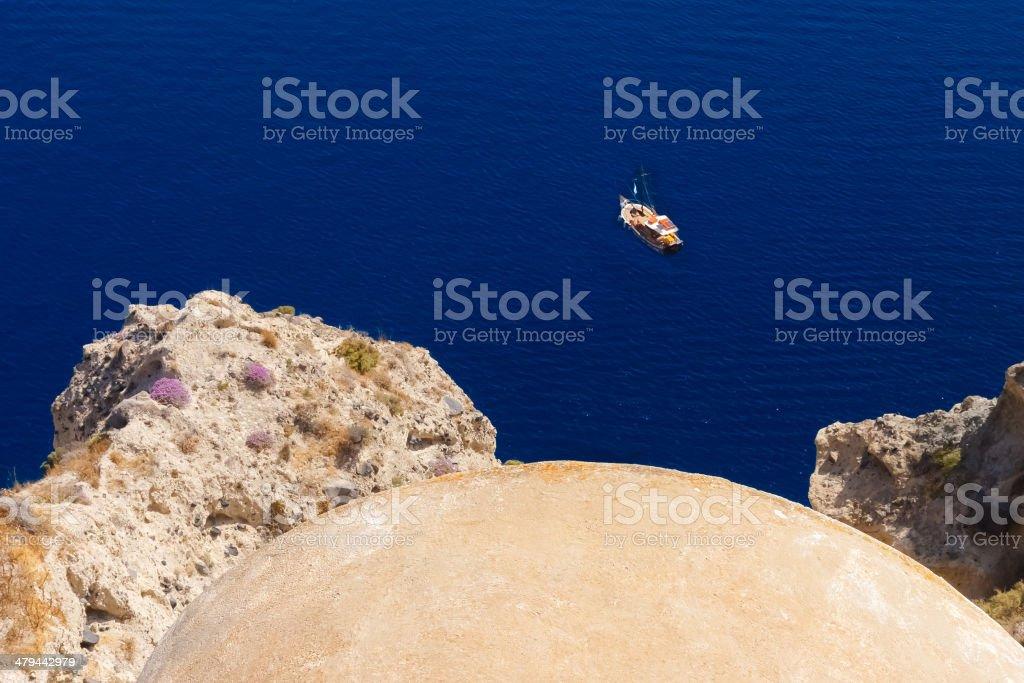 Beautiful waters in Santorini, Greece stock photo