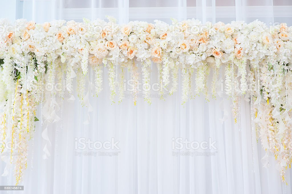 Beautiful Wedding arch of white and pink roses for the stock photo