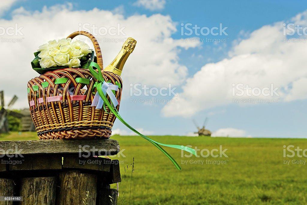 Beautiful wedding basket on picnic royalty-free stock photo