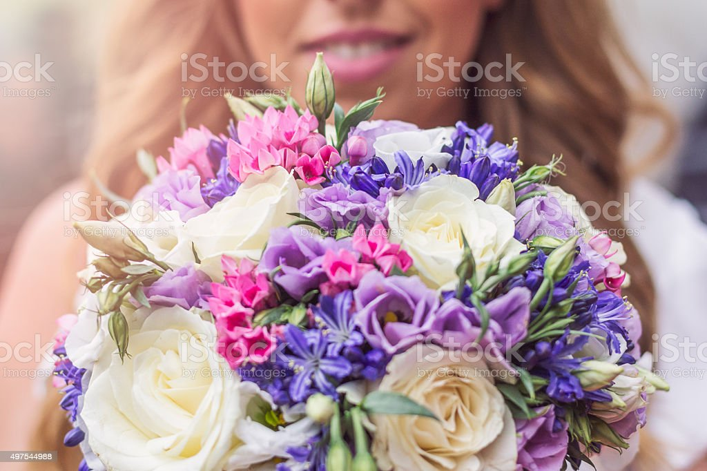 beautiful wedding bouquet from wildflowers stock photo