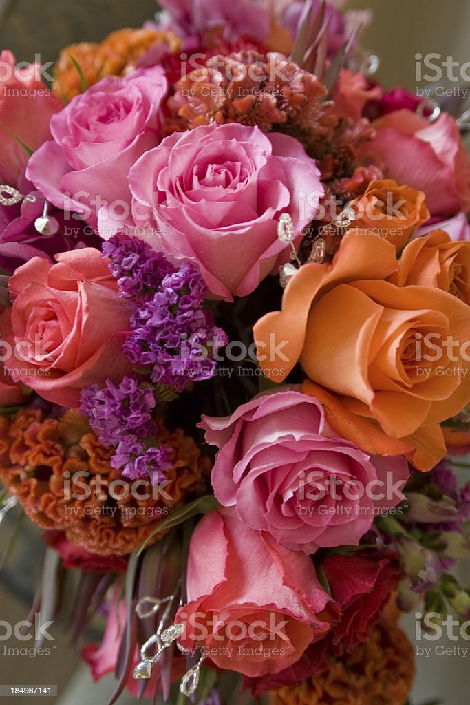 Beautiful wedding bouquet with roses and other flowers royalty-free stock photo