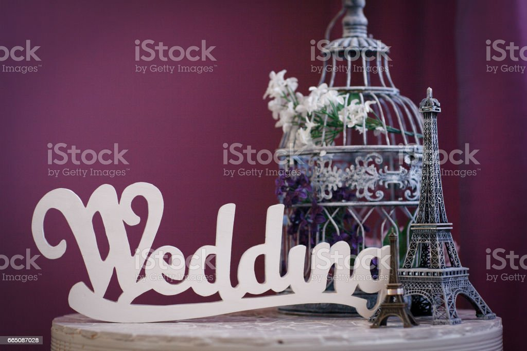 Beautiful wedding composition with the word wedding stock photo