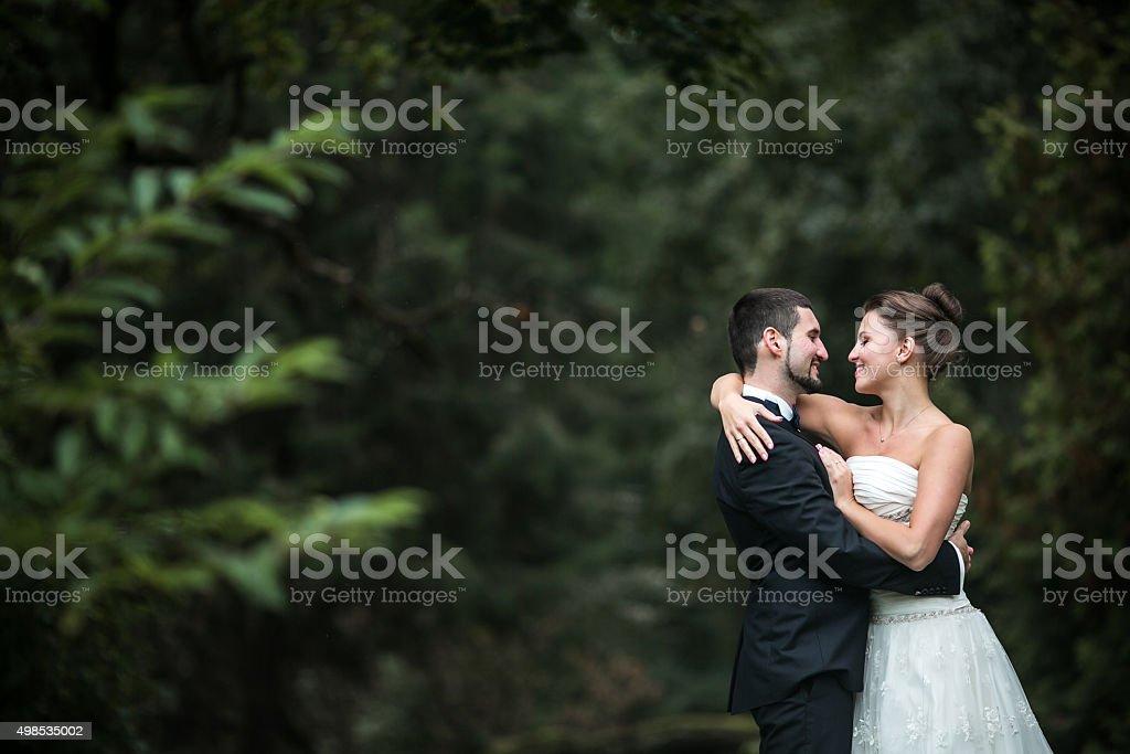 Beautiful wedding couple posing stock photo