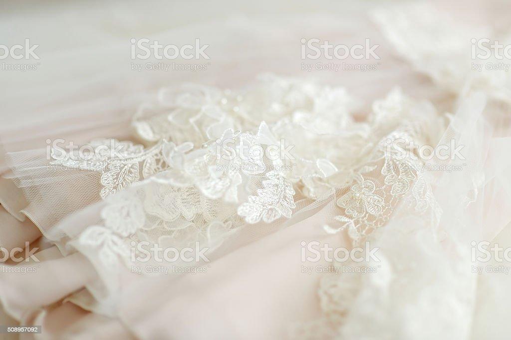 Beautiful wedding dress decoration stock photo