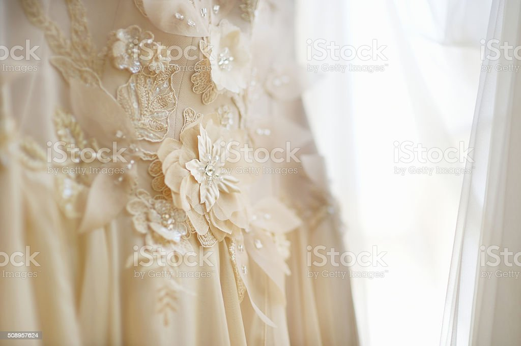 Beautiful wedding dress decoration stock photo