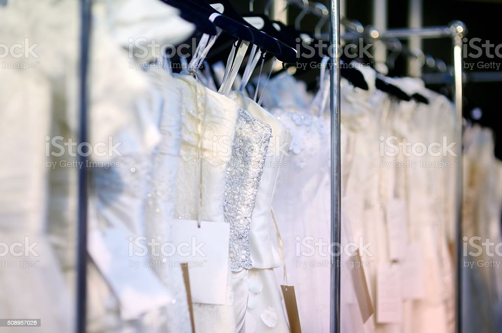 Beautiful wedding dresses stock photo