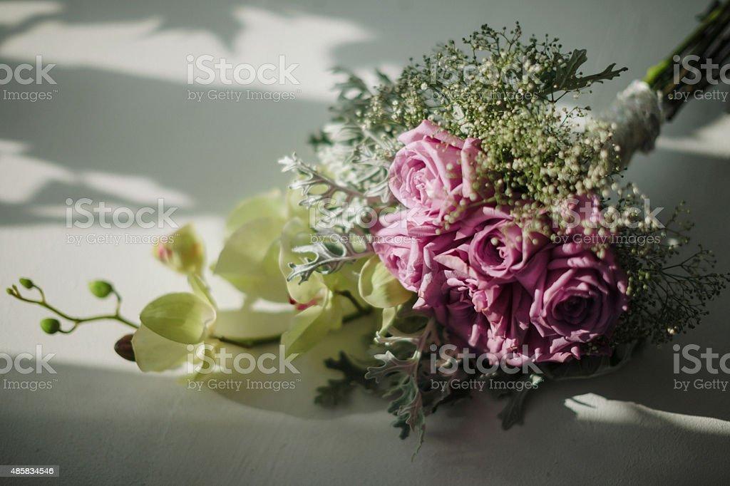 Beautiful wedding hand bouquet stock photo