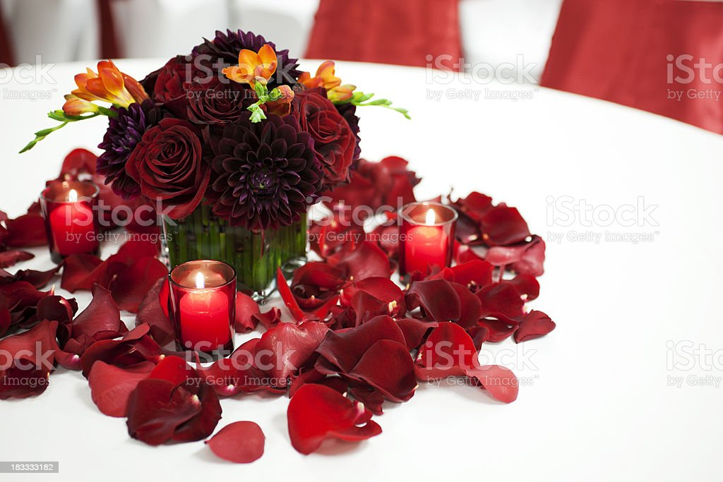 Beautiful Wedding Reception Table Setting, Copy Space royalty-free stock photo
