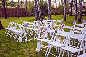 Beautiful wedding set up.  ceremony place in the forest