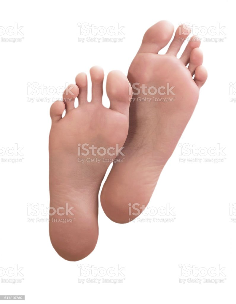 Beautiful well-groomed female a foot and a heel stock photo