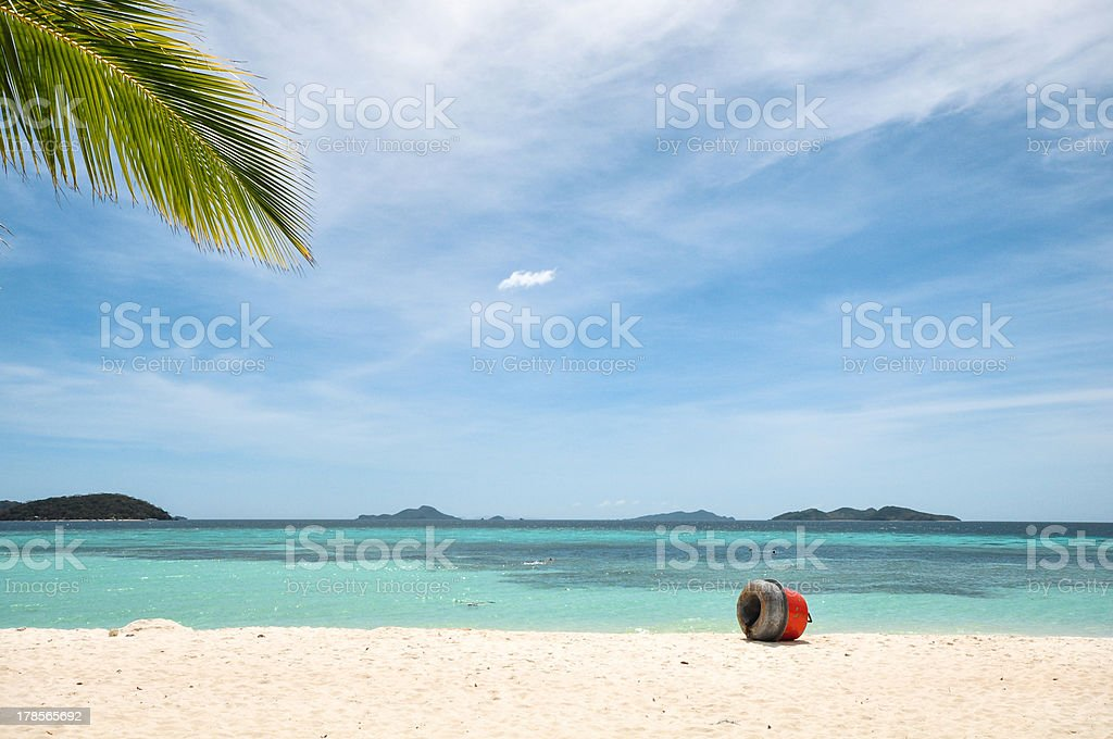 beautiful white beach and blue sky royalty-free stock photo