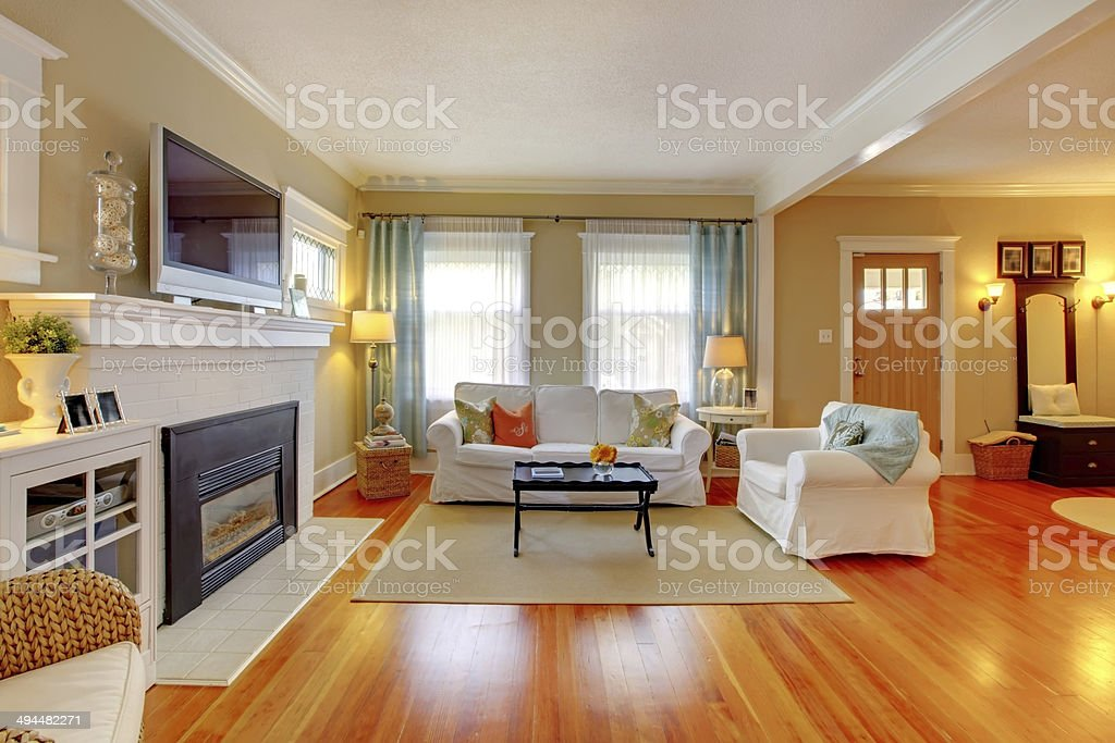 Beautiful white, blue and beige living room. stock photo