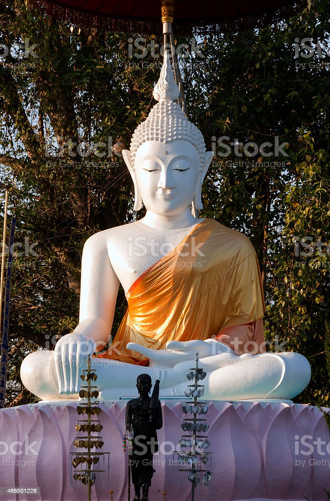 Beautiful white buddha in Northern Thailand royalty-free stock photo