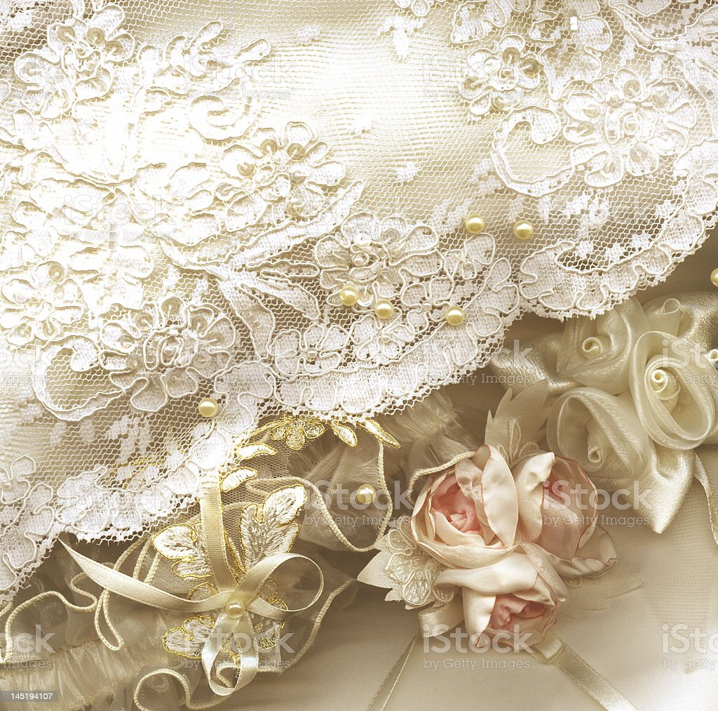 A beautiful white cloth embroidered with floral designs royalty-free stock photo
