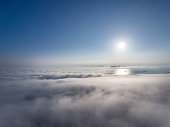 Beautiful white clouds under sunshine, shot with drone