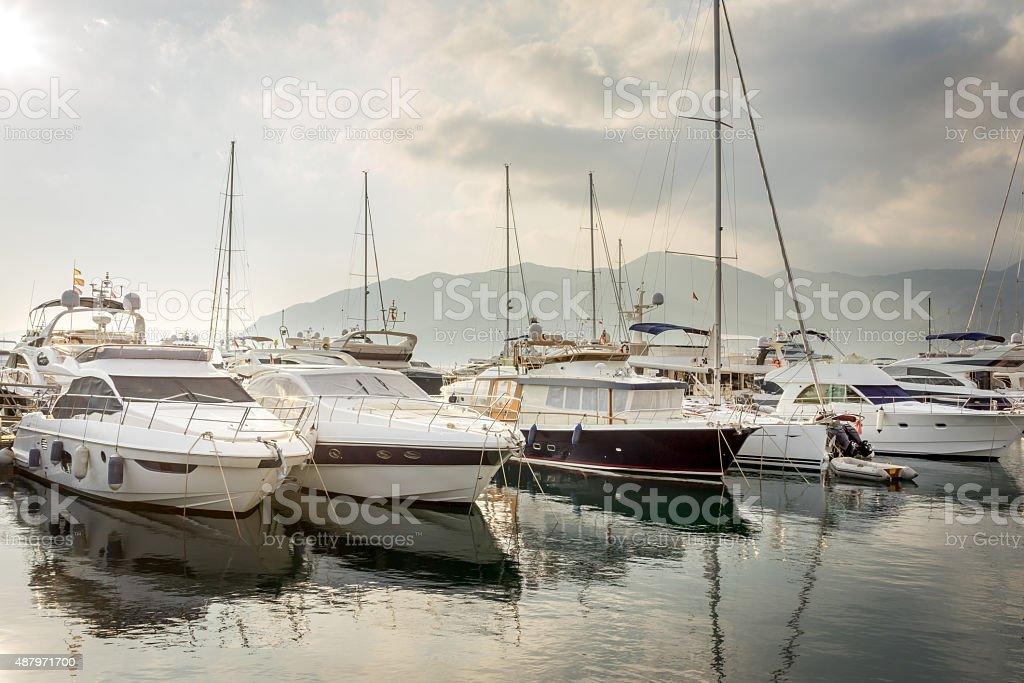 Beautiful white modern yachts at sea port in Montenegro stock photo