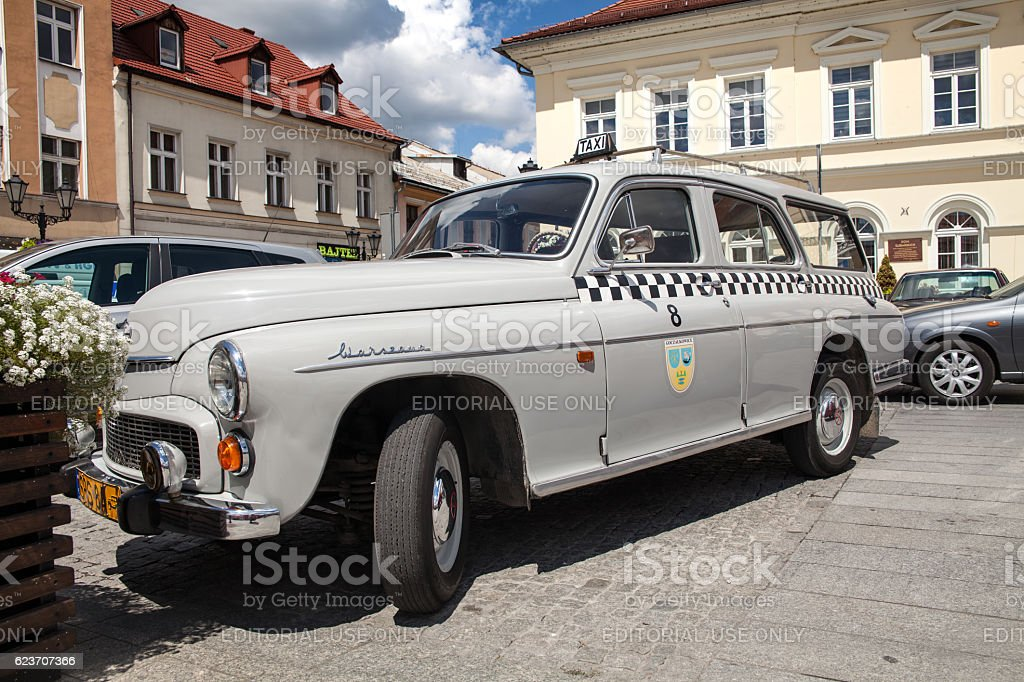 Beautiful White Old Antique Warszawa Taxi Car Side View Stock