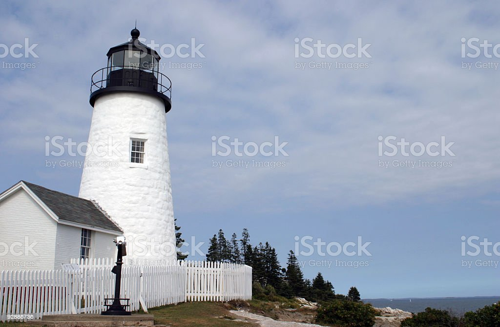 Beautiful white old lighthouse in Maine, USA stock photo