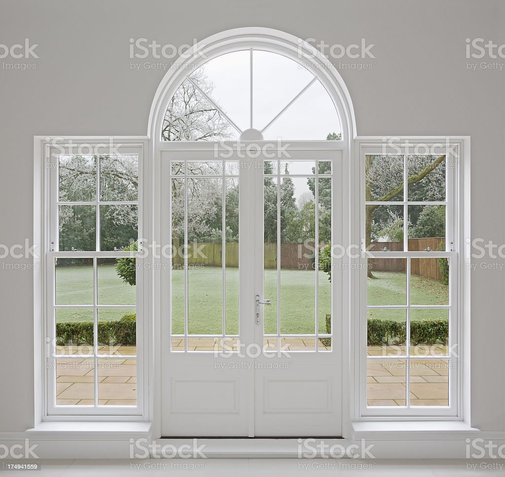 beautiful white patio doors stock photo