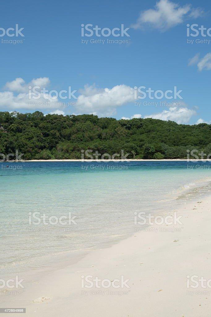 Beautiful white sand beach and jungle island. stock photo