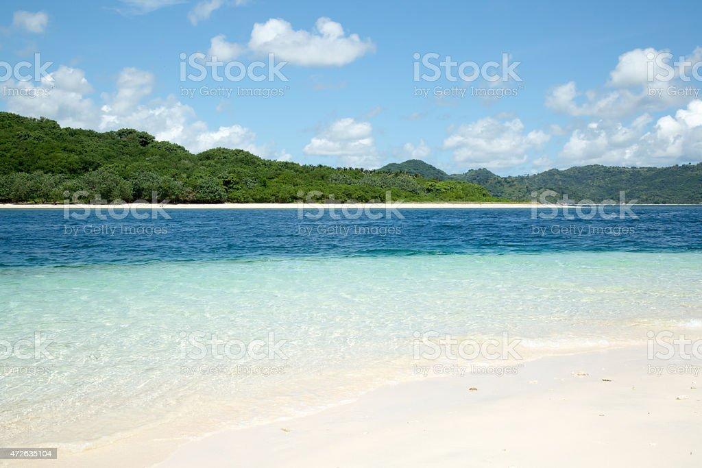 Beautiful white sand beach. stock photo