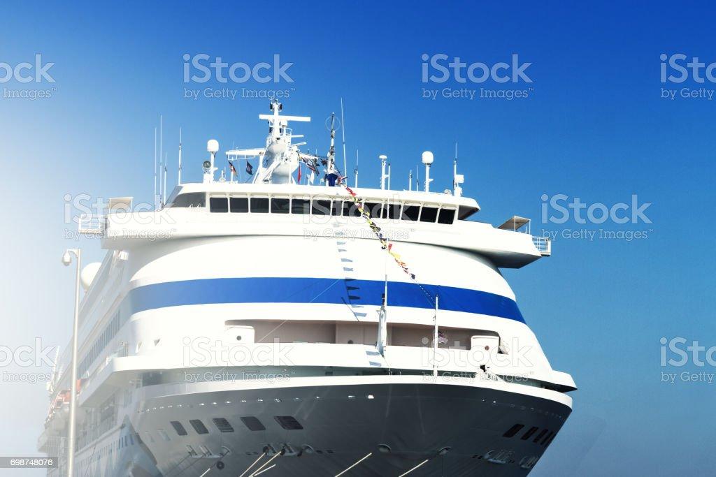 Beautiful White Ship, Closeup. Day Light. Blue Sky Background. stock photo
