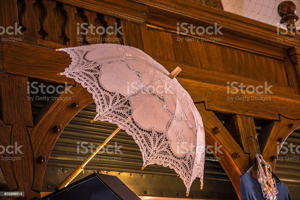 Beautiful white umbrella stock photo