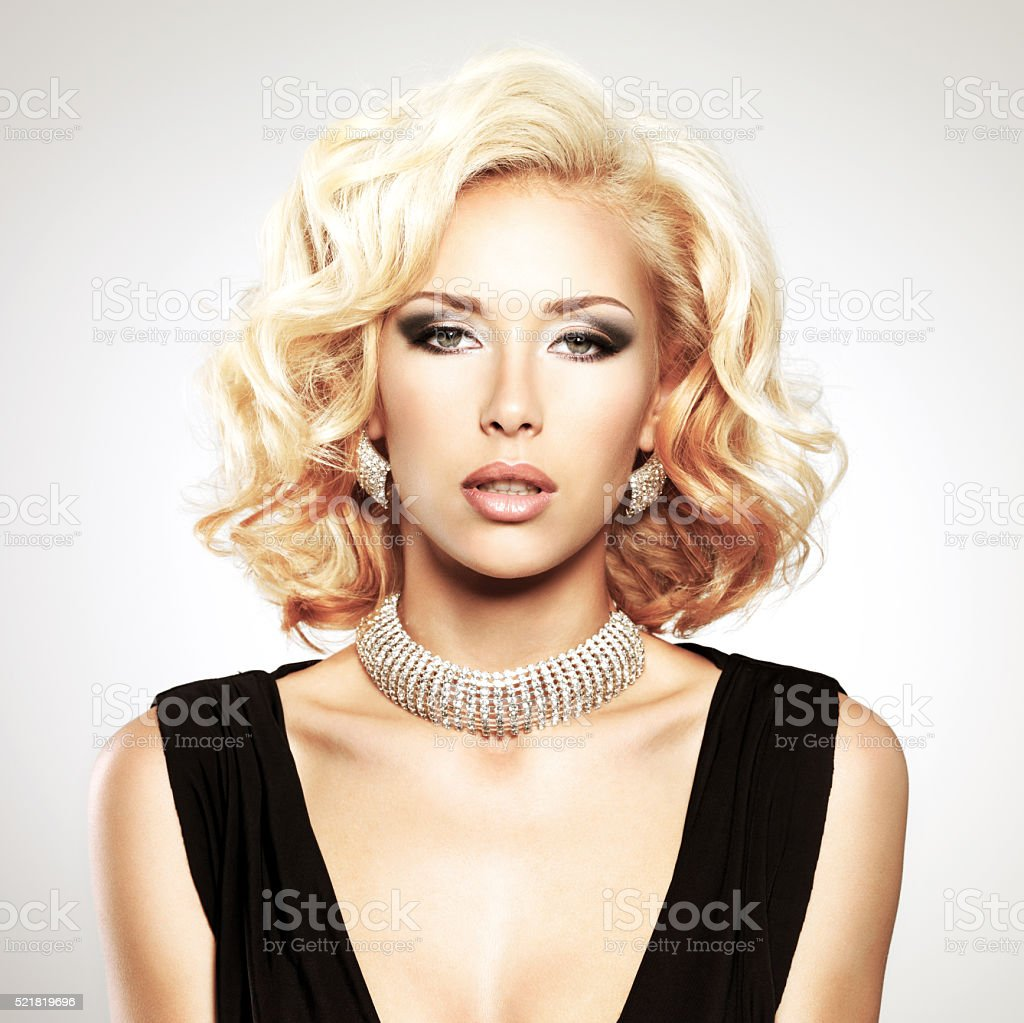 Beautiful white woman with curly  hairstyle stock photo