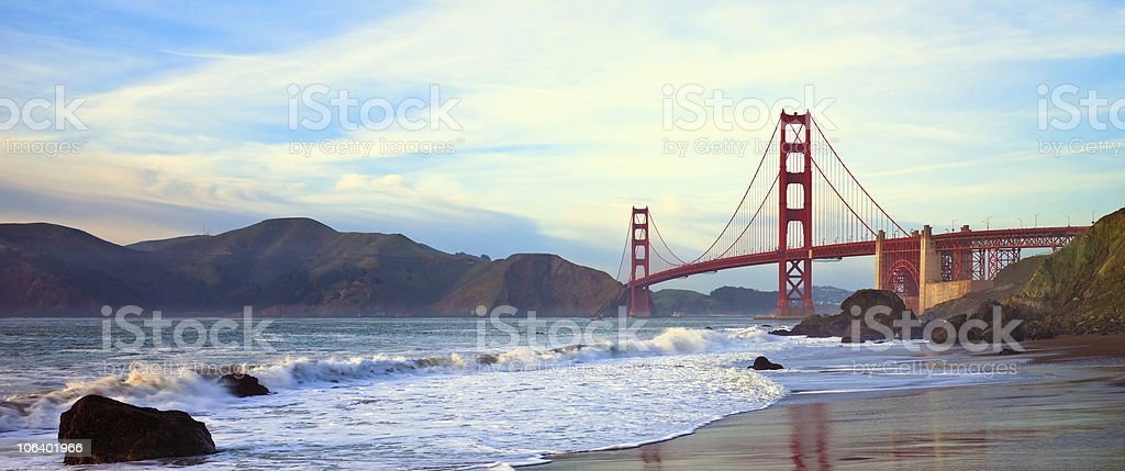 Beautiful wide shot of the Golden Gate Bridge on a sunset stock photo