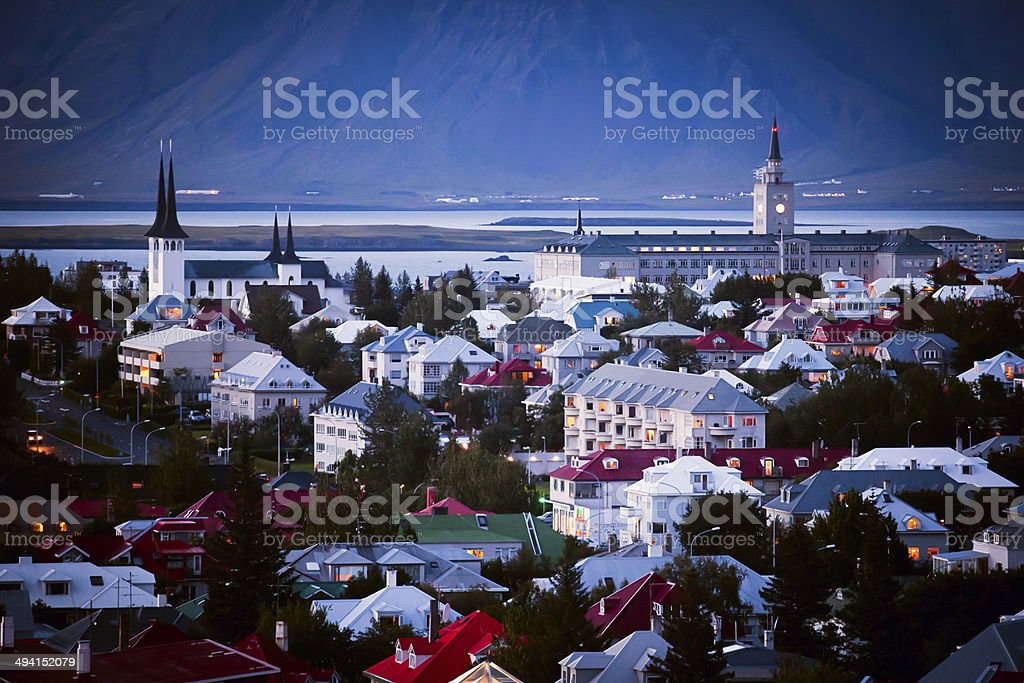 Beautiful wide-angle aerial view of Reykjavik, Iceland harbor and skyline stock photo
