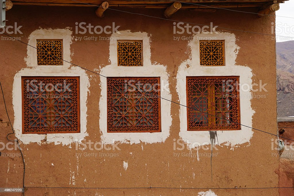 Beautiful window of a house in Abyaneh,Iran. stock photo