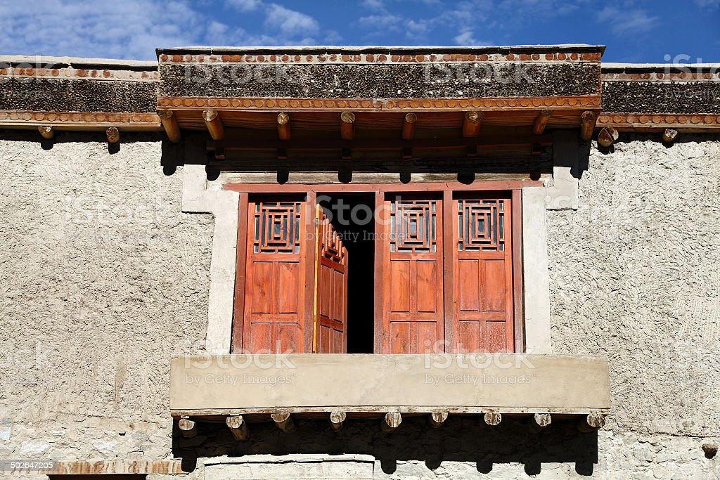 Beautiful window of Leh Palace stock photo