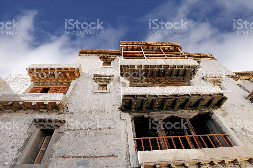 Beautiful windows of Leh Palace stock photo